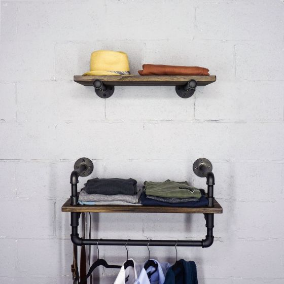 "Austin Farmhouse Industrial 24"" & 27"" Wide 2-Piece Multi-Purpose Wall Shelf Rack"