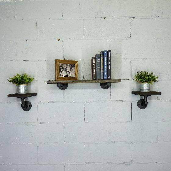 Cape Coral Farmhouse Industrial 3-Piece Decorative Display Wall Shelf