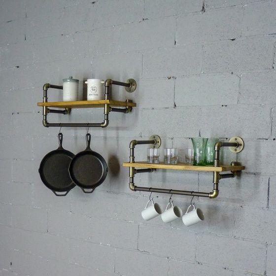 Denver 2-Piece 27-Inch Set Industrial Farmhouse Wall Shelf Rack