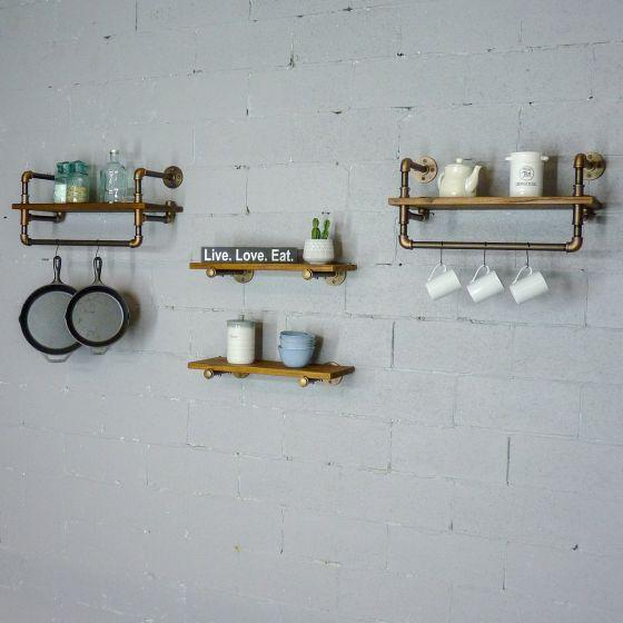 """Seattle Farmhouse Industrial 24"""" & 27"""" Wide 4-Piece Rack Wall Shelf Bundle"""