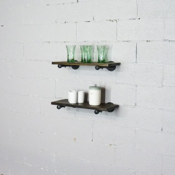 Honolulu 2-Piece Industrial Farmhouse 18-Inch Shelf Set