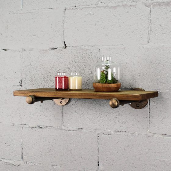 "Somerville Farmhouse Industrial 24"" Wide Decorative Wall Shelf"