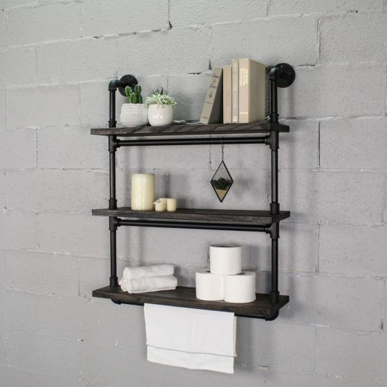"Juneau Industrial Chic, 30"" Wide, 3-Tier Wall Mounted Etagere Bookcase"