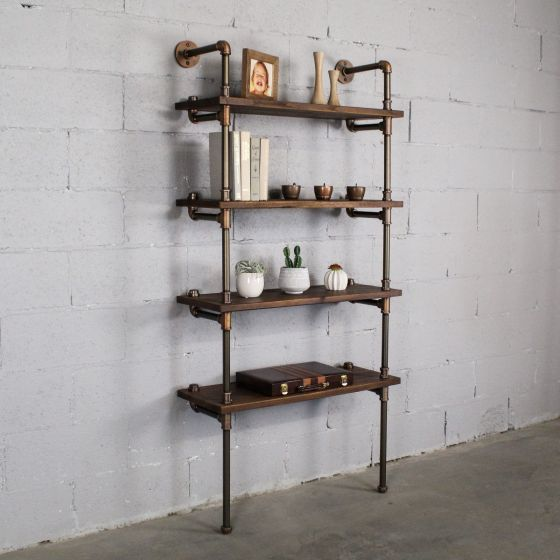 "Sacramento Industrial Chic, 33"" Wide, 4-Tier Etagere Bookcase"