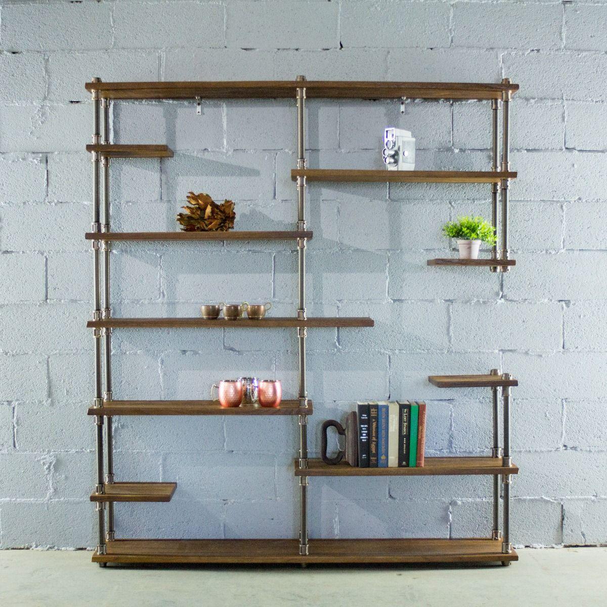 Nashville Industrial Mid Century Etagere Bookcase