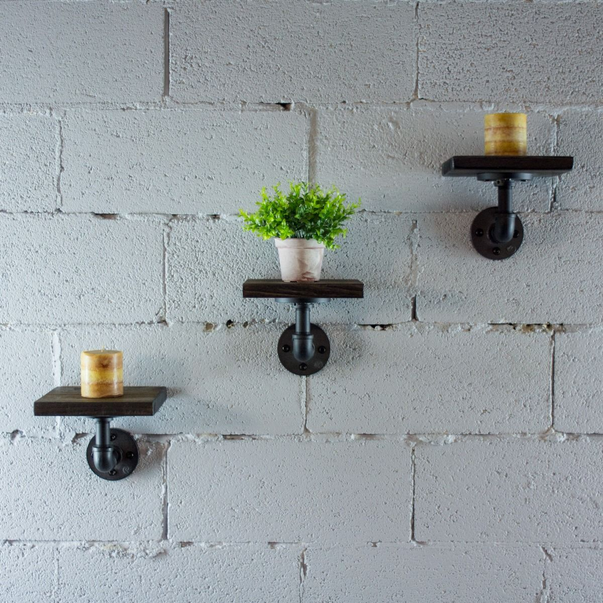 Ames 8 Solid Wood Wall Mounted Floating Pipe Shelf Shelves