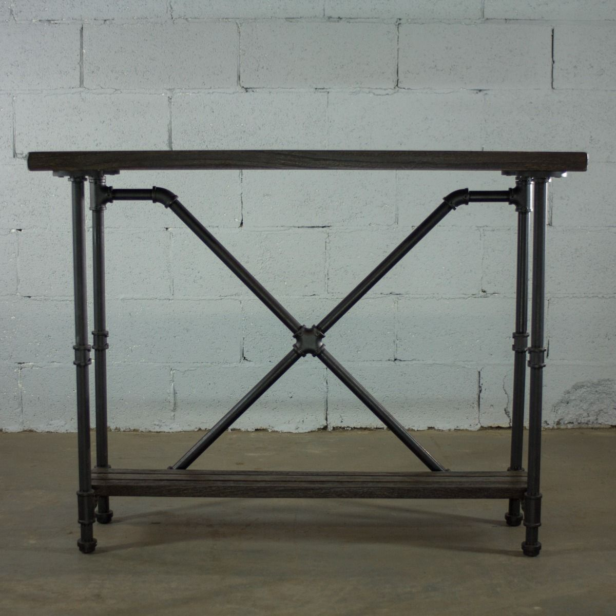Houston Industrial Vintage 2 Tier Pipe Console Sofa Hall