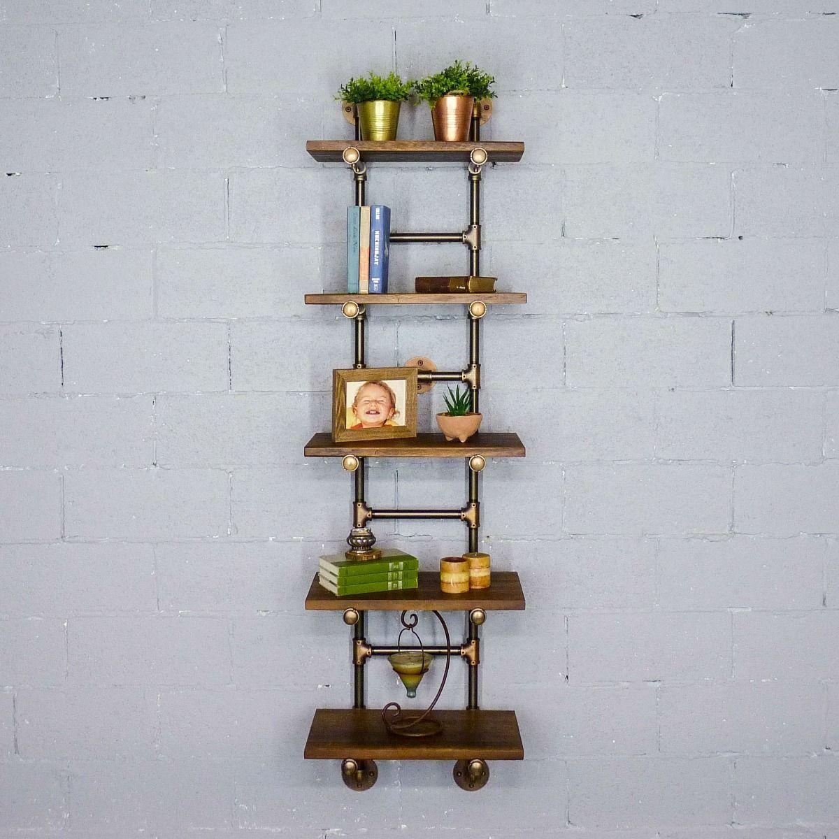 Phoenix Modern Industrial Ladder Wall Mounted Bookcase
