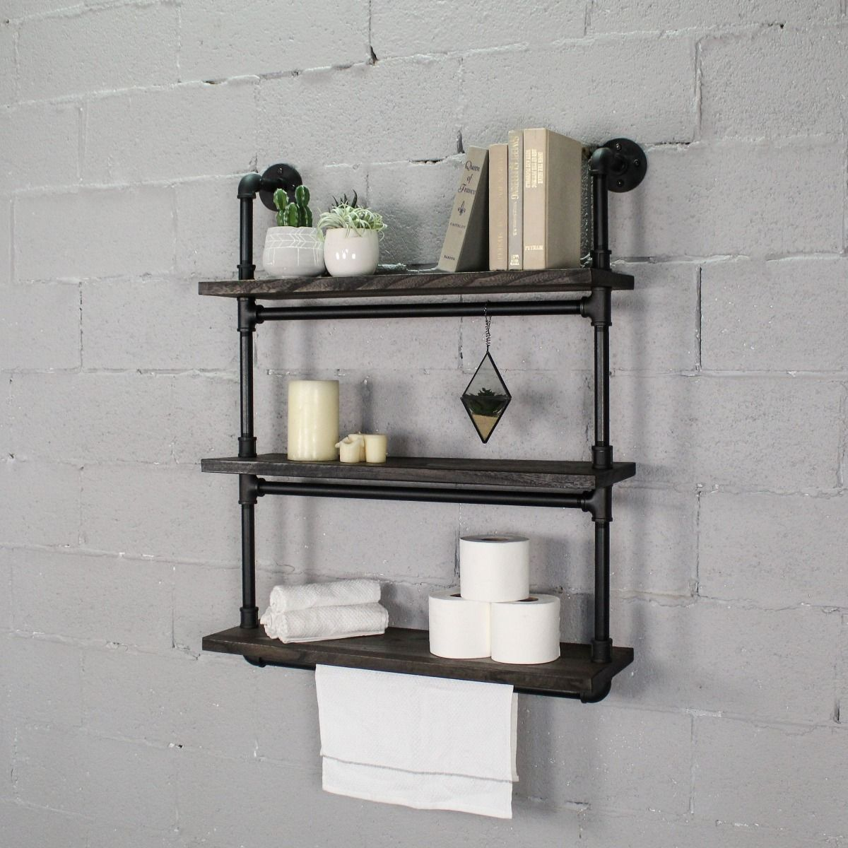 Juneau Industrial Chic 30 Wide 3 Tier Wall Mounted Etagere Bookcase