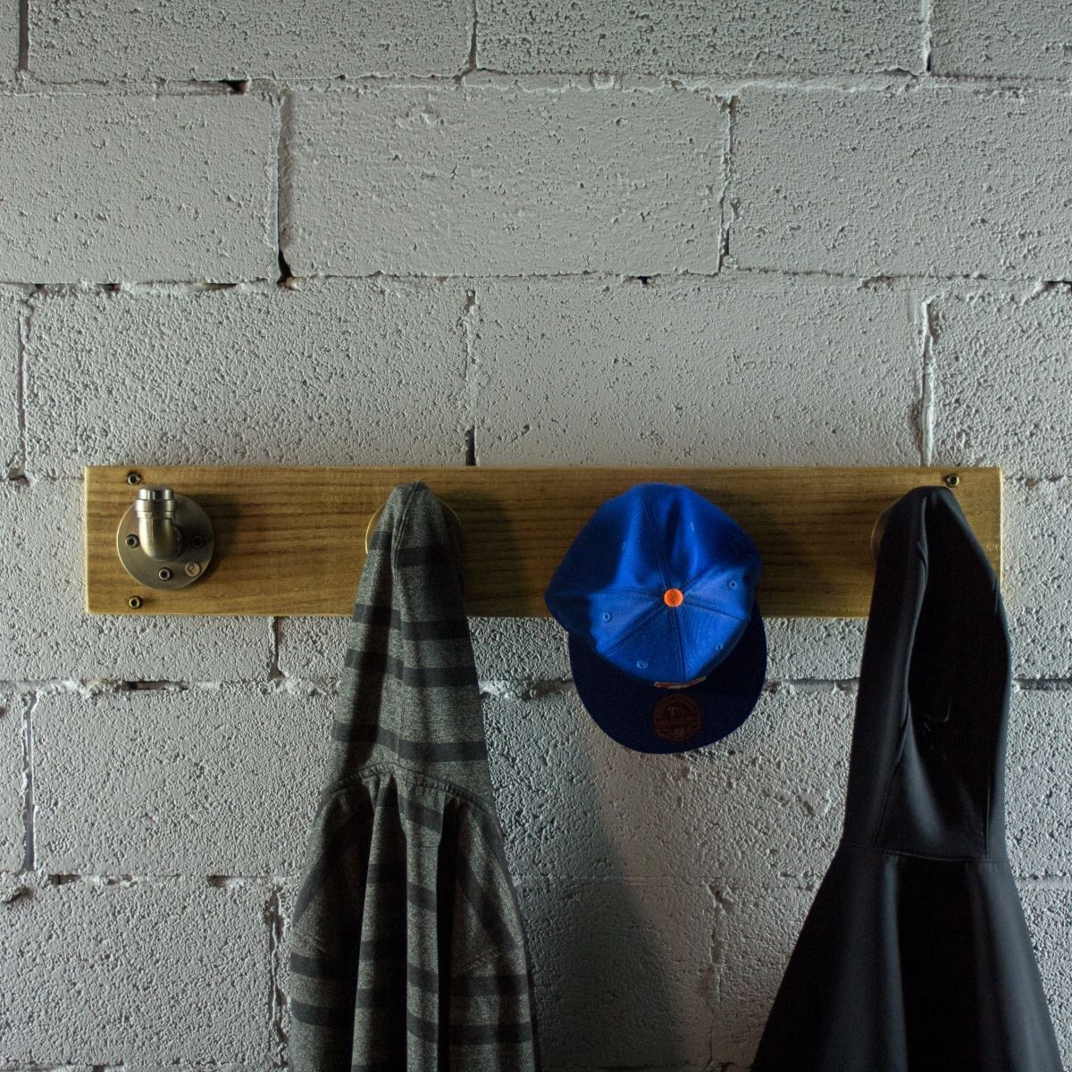 3ae666af4a04 San Antonio Industrial, wall mounted entryway hat coat rack 4-hooks, metal  with reclaimed wood finish