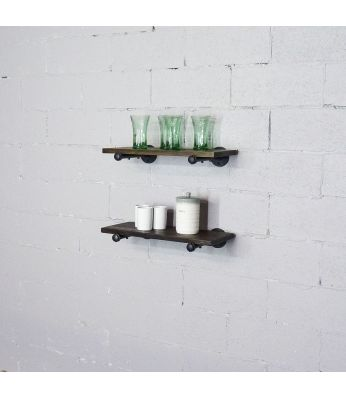Honolulu 2-Piece Industrial Farmhouse 24-Inch Decorative Display Wall Shelf Set