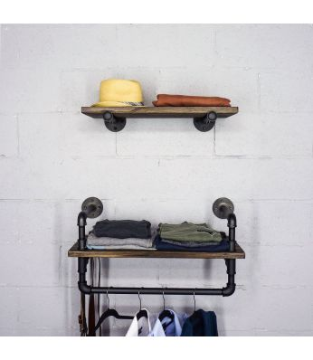 "Austin Farmhouse Industrial 24"" & 27"" Wide 2-Piece Multi-Purpose Wall Shelf Rack"