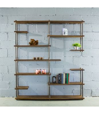 Nashville Industrial Mid-Century Etagere Bookcase