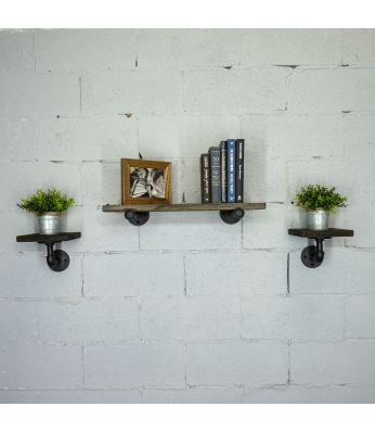 "Cape Coral Farmhouse Industrial Set 3-Piece 24"" & 8"" Wide 3-Piece Multi-Purpose Wall Shelf"