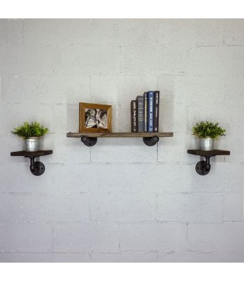 "Cape Coral Farmhouse Industrial Set 30"" & 8"" Wide 3-Piece Wall Shelf"