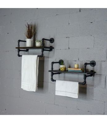 Denver 2-Piece 33-Inch Industrial Farmhouse Wall Shelf Rack Bundle