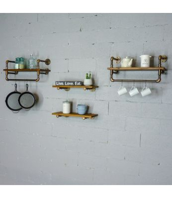 "Seattle Farmhouse Industrial 24"" & 27"" Wide 4-Piece Rack Wall Shelf Bundle"