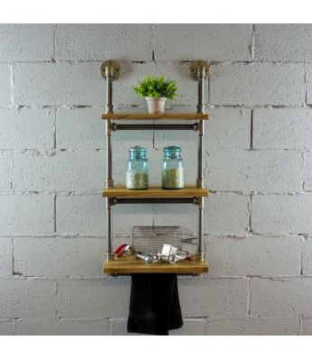 "Juneau Industrial Wall Mounted 18"" Wide Etagere Rack"